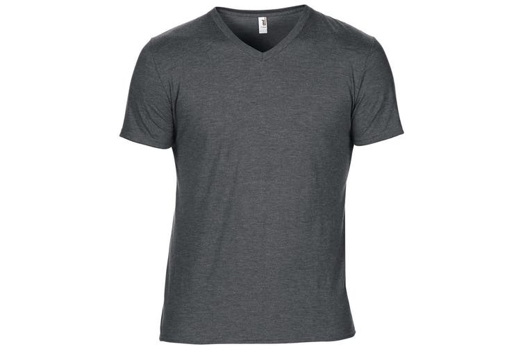 Anvil Mens Short Sleeve Tri-Blend V-Neck T-Shirt (Heather Dark Grey) (M)