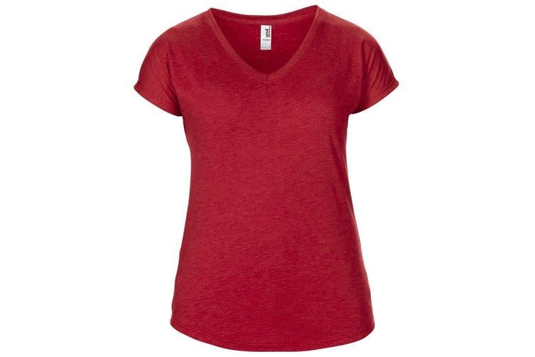 Anvil Womens/Ladies Short Sleeve Tri-Blend V-Neck T-Shirt (Heather Red) (L)