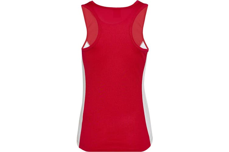 AWDis Just Cool Womens/Ladies Girlie Contrast Panel Sports Vest Top (Fire Red/Arctic White) (M)