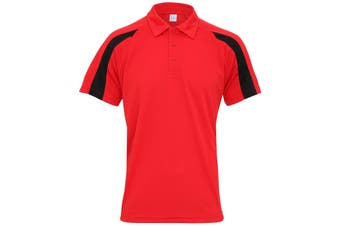 AWDis Just Cool Mens Short Sleeve Contrast Panel Polo Shirt (Fire Red/Jet Black) (S)