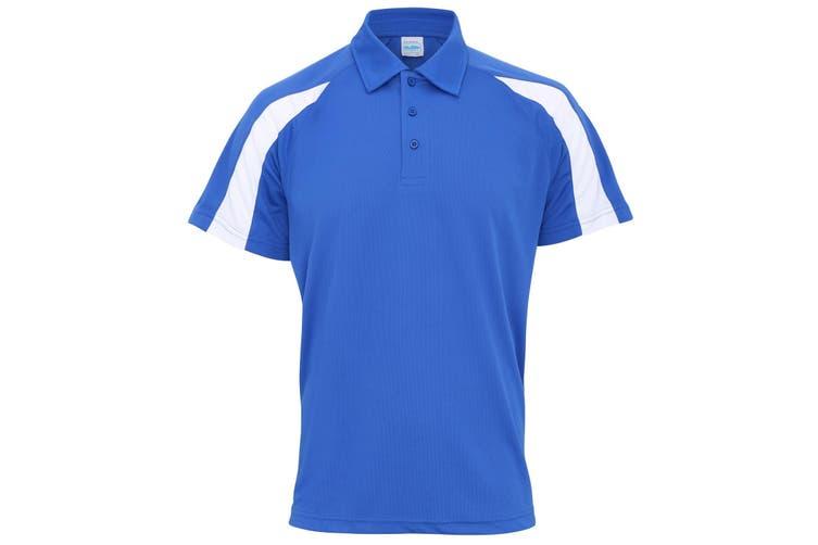 AWDis Just Cool Mens Short Sleeve Contrast Panel Polo Shirt (Royal Blue/Arctic White) (XL)