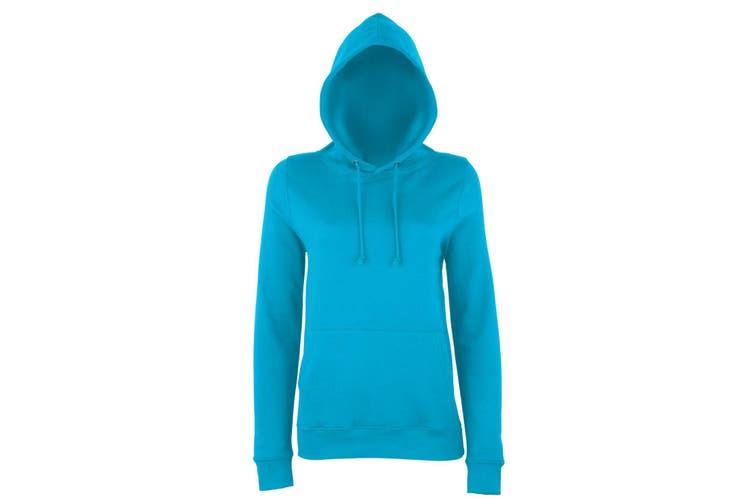 AWDis Just Hoods Womens/Ladies Girlie College Pullover Hoodie (Hawaiian Blue) (2XL)