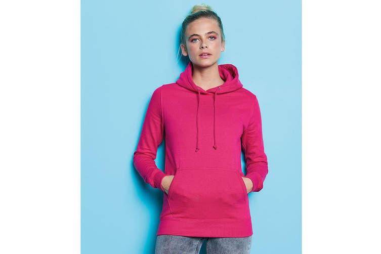 AWDis Just Hoods Womens/Ladies Girlie College Pullover Hoodie (Hot Pink) (2XL)