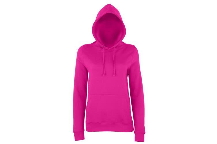AWDis Just Hoods Womens/Ladies Girlie College Pullover Hoodie (Hot Pink) (L)