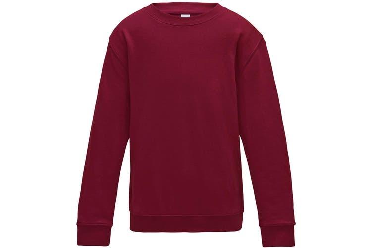 AWDis Just Hoods Childrens/Kids Plain Crew Neck Sweatshirt (Red Hot Chilli) (12-13 Years)
