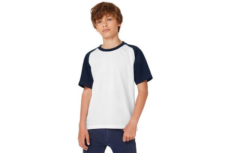 B&C Childrens Boys Short Sleeve Baseball T-Shirt (White/Navy) (7-8 Years)