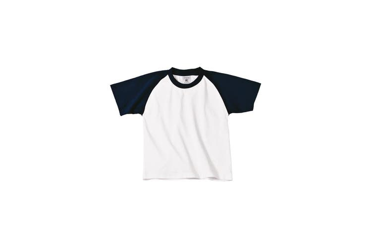 B&C Childrens Boys Short Sleeve Baseball T-Shirt (White/Navy) (12-14 Years)