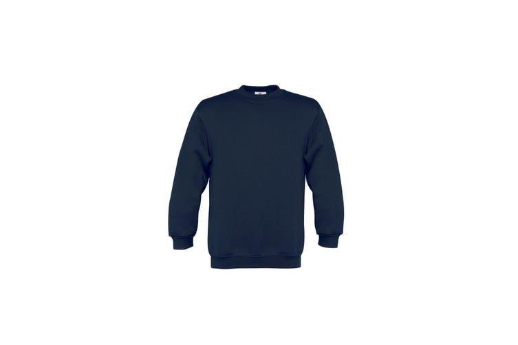 B&C Childrens/Kids Plain Crew Neck Sweatshirt (Navy) (12-14 Years)