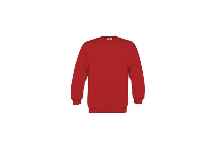 B&C Childrens/Kids Plain Crew Neck Sweatshirt (Red) (7-8 Years)