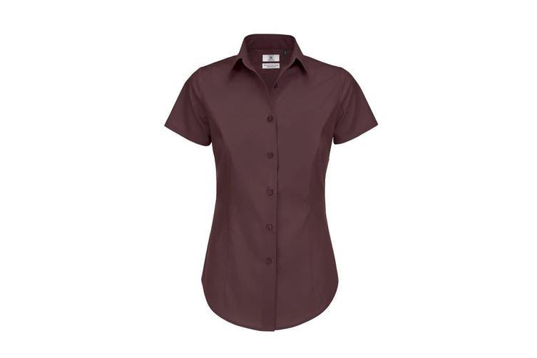 B&C Womens/Ladies Black Tie Formal Short Sleeve Work Shirt (Luxurious Red) (4XL)
