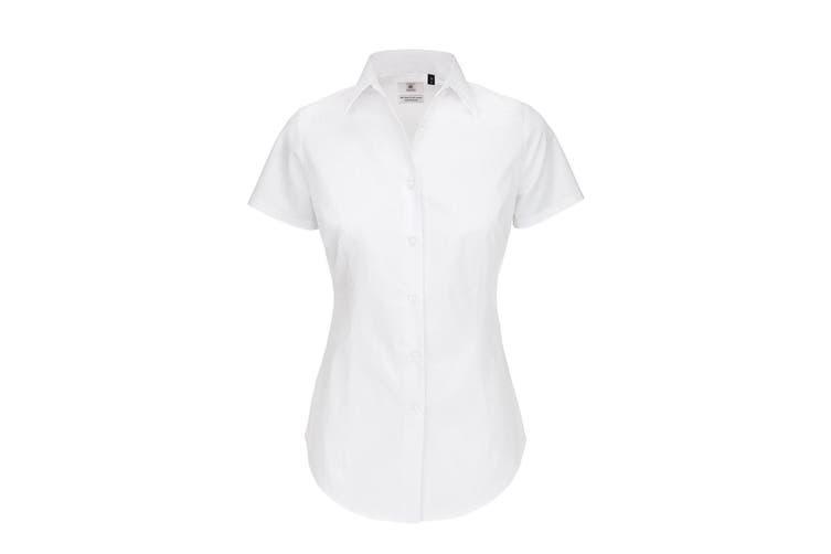 B&C Womens/Ladies Black Tie Formal Short Sleeve Work Shirt (White) (L)