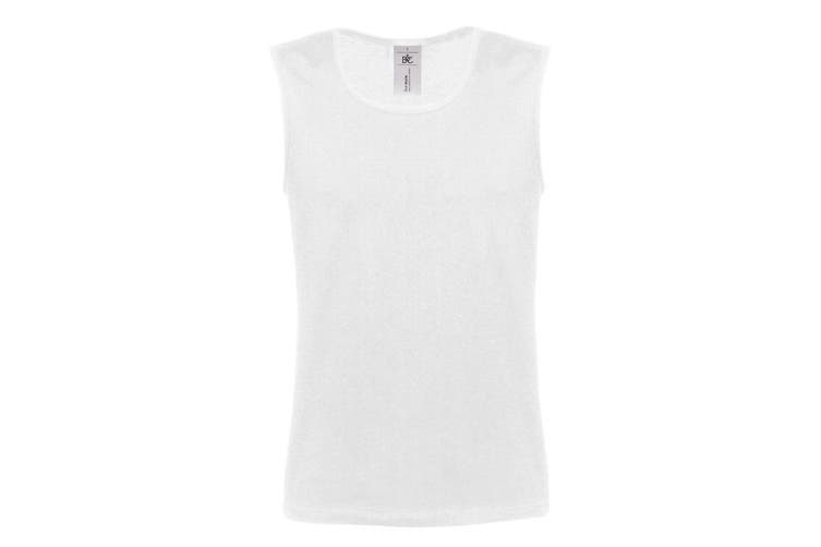 B&C Mens Move Sleeveless Athletic Sports Vest Top (White) (L)