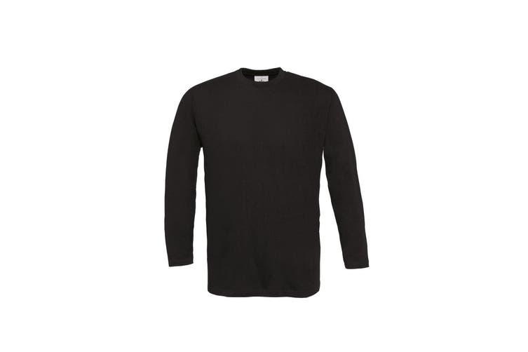 B&C Mens Exact Plain Long Sleeve Crew Neck T-Shirt (Black) (3XL)