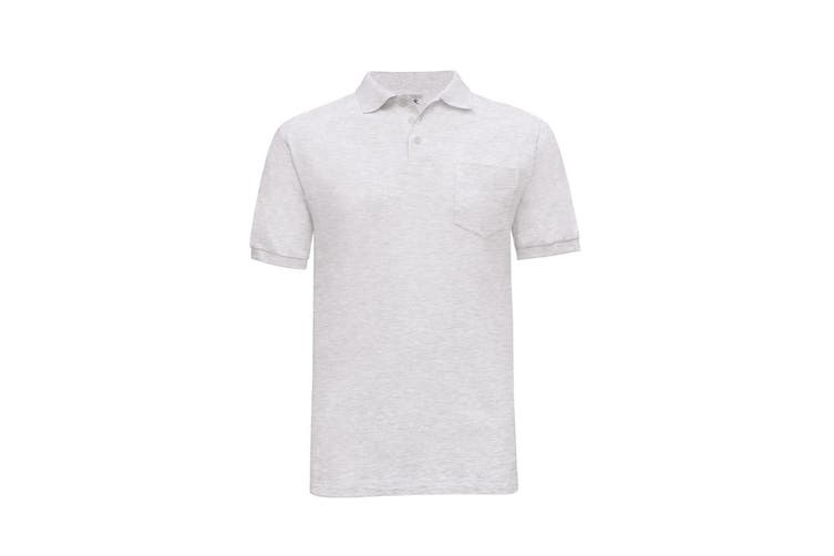 B&C Mens Safran Plain Short Sleeve Polo Shirt With Pocket (Ash) (L)