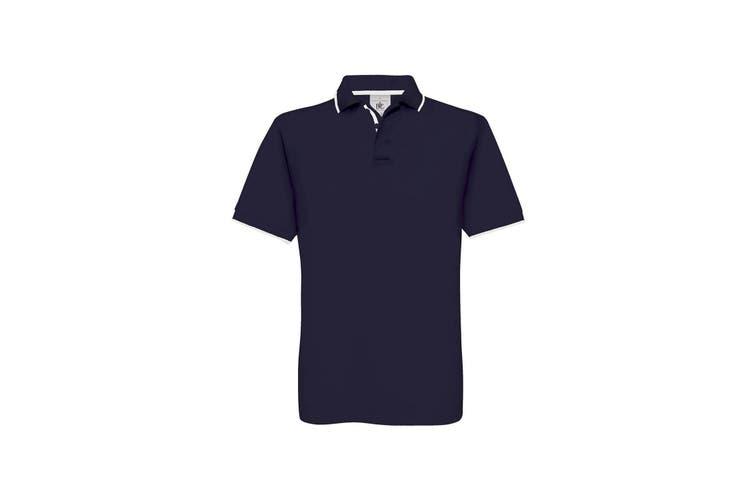 B&C Mens Safran Sport Plain Short Sleeve Polo Shirt (Navy/White) (L)