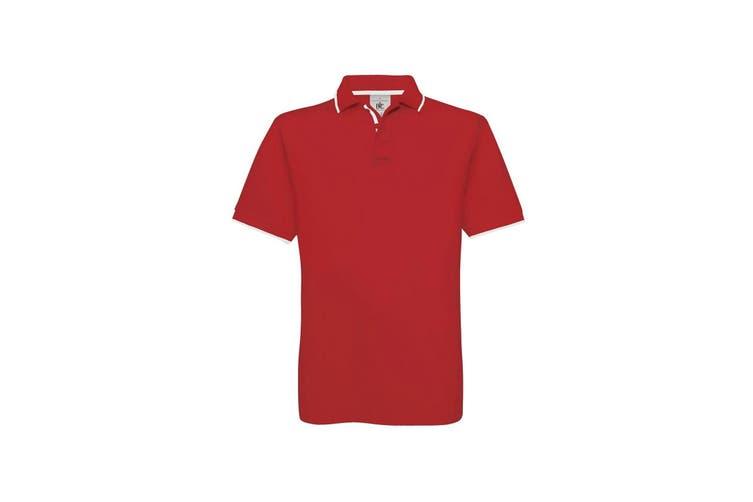 B&C Mens Safran Sport Plain Short Sleeve Polo Shirt (Red/White) (S)