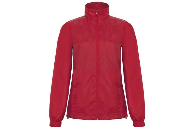 B&C Womens/Ladies ID.601 Hooded Showerproof Windbreaker Jacket (Red) (XS)