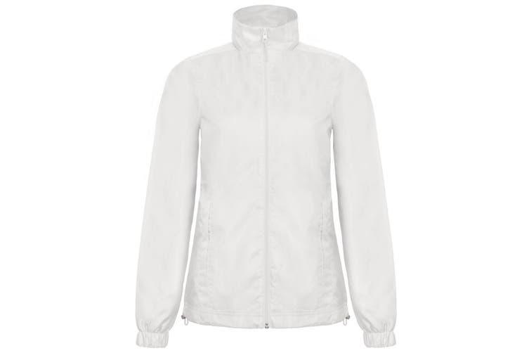 B&C Womens/Ladies ID.601 Hooded Showerproof Windbreaker Jacket (White) (L)