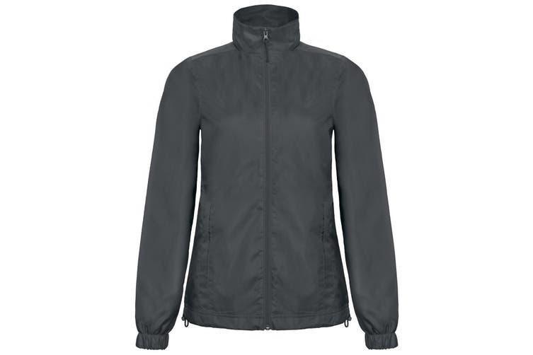 B&C Womens/Ladies ID.601 Hooded Showerproof Windbreaker Jacket (Dark Grey) (2XL)