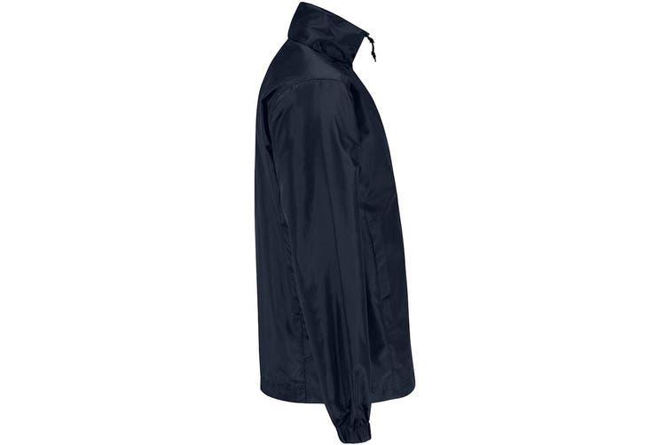 B&C Mens ID.601 Hooded Showerproof Windbreaker Jacket (Navy) (3XL)