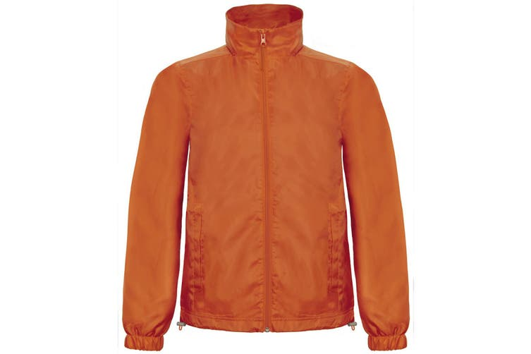B&C Mens ID.601 Hooded Showerproof Windbreaker Jacket (Orange) (L)