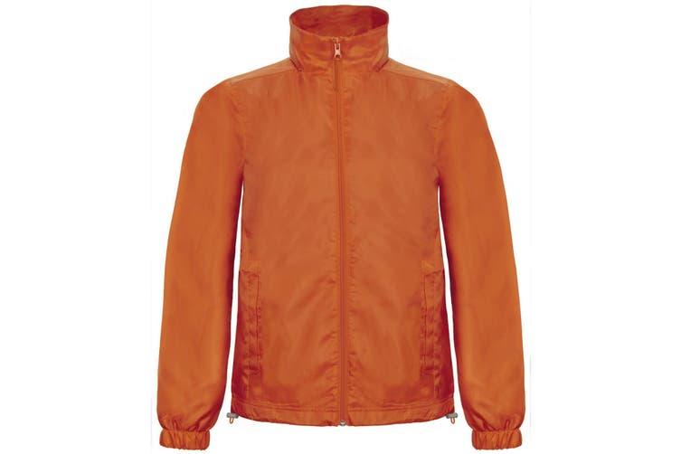 B&C Mens ID.601 Hooded Showerproof Windbreaker Jacket (Orange) (XL)