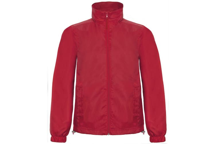 B&C Mens ID.601 Hooded Showerproof Windbreaker Jacket (Red) (2XL)