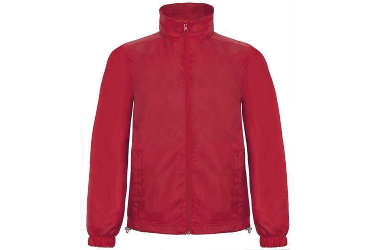 B&C Mens ID.601 Hooded Showerproof Windbreaker Jacket (Red) (3XL)