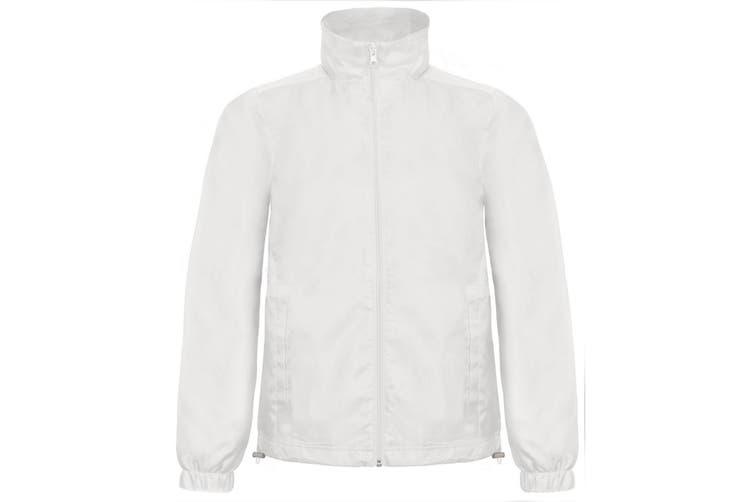 B&C Mens ID.601 Hooded Showerproof Windbreaker Jacket (White) (S)