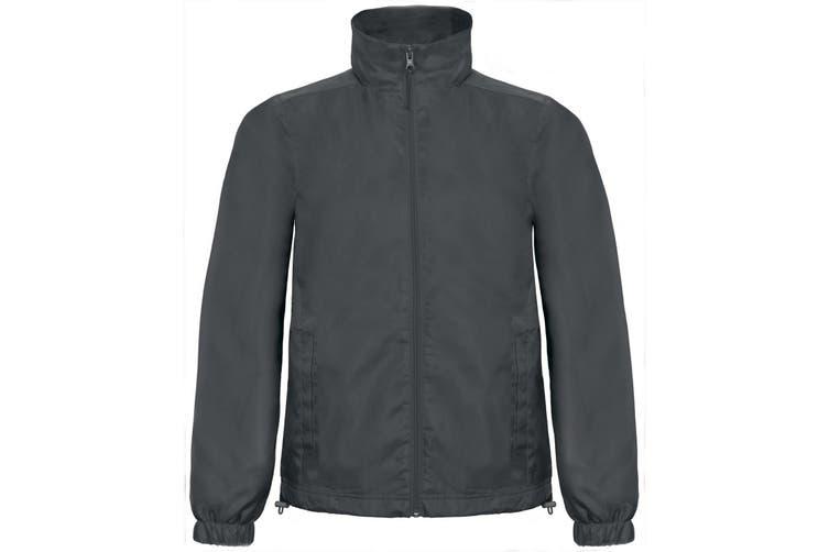 B&C Mens ID.601 Hooded Showerproof Windbreaker Jacket (Dark Grey) (L)