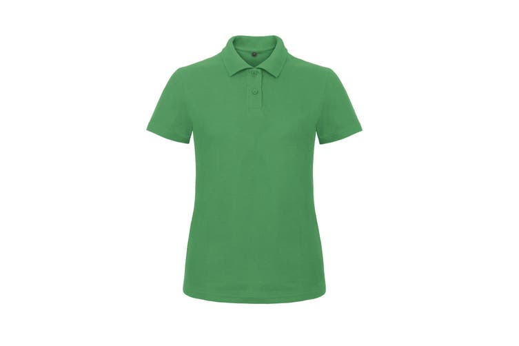 B&C Womens/Ladies ID.001 Plain Short Sleeve Polo Shirt (Kelly Green) (L)