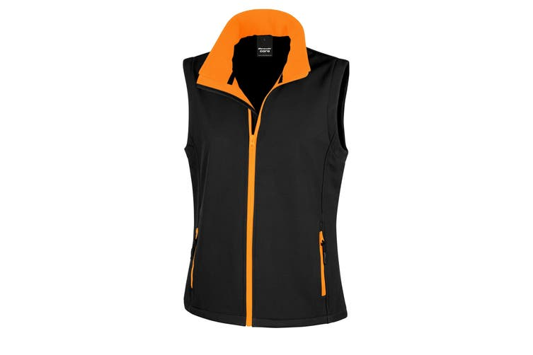 Result Core Womens/Ladies Printable Softshell Bodywarmer (Black / Orange) (XL)