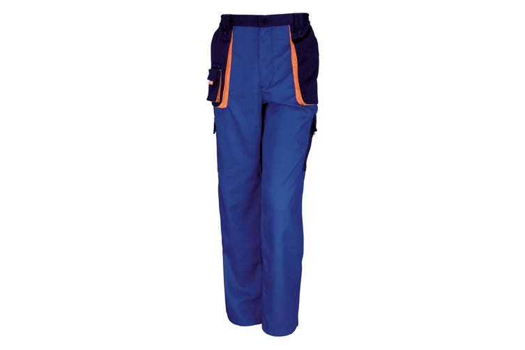 Result Unisex Work-Guard Lite Workwear Trousers (Breathable And Windproof) (Royal / Navy / Orange) (2XL)