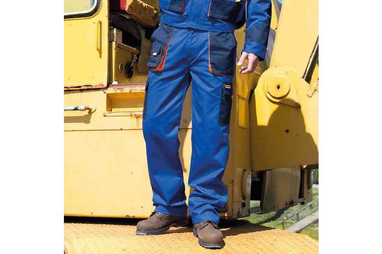 Result Unisex Work-Guard Lite Workwear Trousers (Breathable And Windproof) (Royal / Navy / Orange) (L)