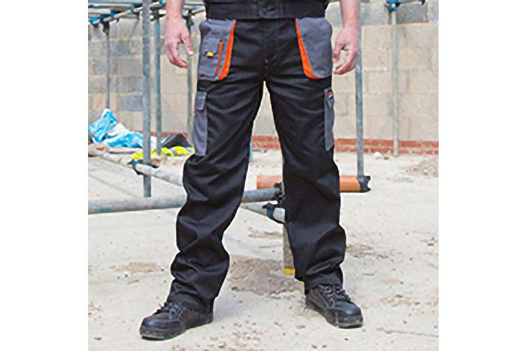 Result Unisex Work-Guard Lite Workwear Trousers (Breathable And Windproof) (Black / Grey / Orange) (2XL)