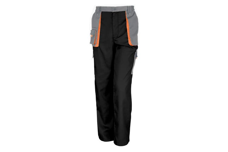 Result Unisex Work-Guard Lite Workwear Trousers (Breathable And Windproof) (Black / Grey / Orange) (L)