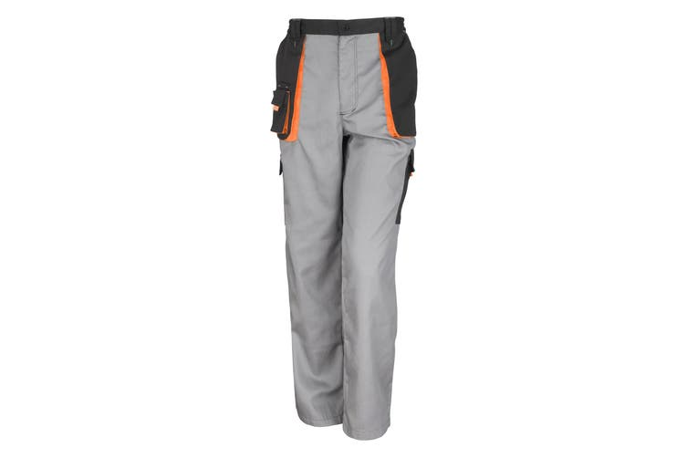 Result Unisex Work-Guard Lite Workwear Trousers (Breathable And Windproof) (Grey / Black / Orange) (XS)