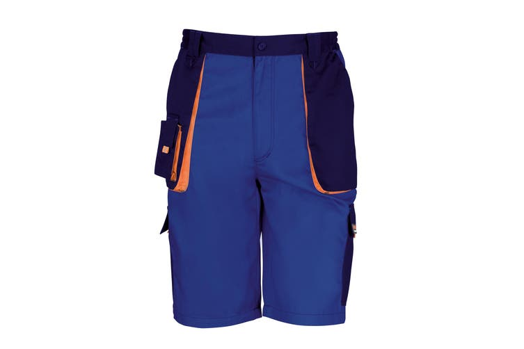 Result Unisex Work-Guard Lite Workwear Shorts (Breathable And Windproof) (Royal / Navy / Orange) (L)