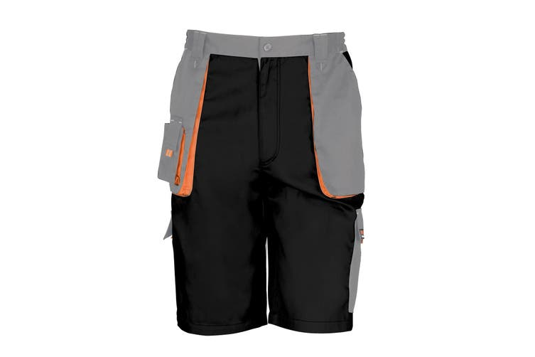 Result Unisex Work-Guard Lite Workwear Shorts (Breathable And Windproof) (Black / Grey / Orange) (4XL)