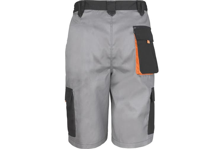 Result Unisex Work-Guard Lite Workwear Shorts (Breathable And Windproof) (Grey / Black / Orange) (3XL)