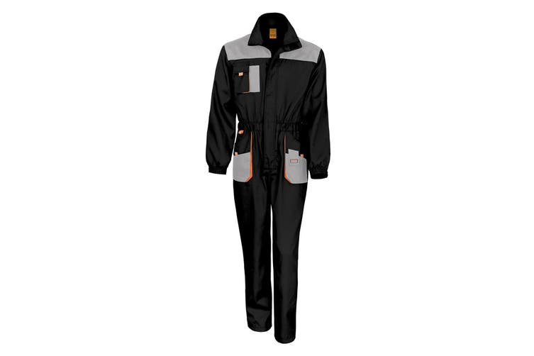Result Unisex Work-Guard Lite Workwear Coverall (Breathable And Windproof) (Black / Grey / Orange) (S)