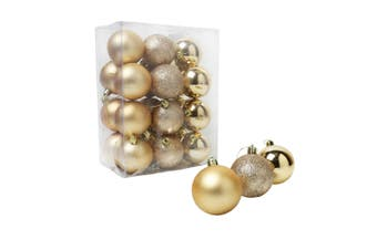 Christmas Shop Assorted Shatterproof 60mm Christmas Tree Bauble Set (24 Pack) (Oyster Gold) (One size (60mm))