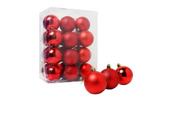 Christmas Shop Assorted Shatterproof 60mm Christmas Tree Bauble Set (24 Pack) (Red) (One size (60mm))