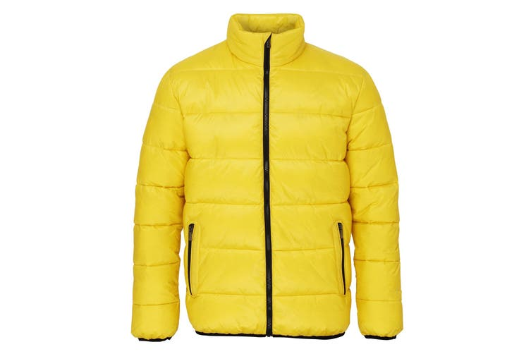 2786 Mens Venture Supersoft Padded Full Zip Jacket (Bright Yellow / Black) (XL)
