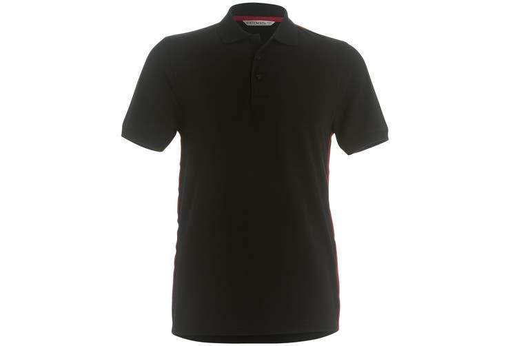 Kustom Kit Mens Team Style Slim Fit Polo Shirt (Black/ Red) (XL)
