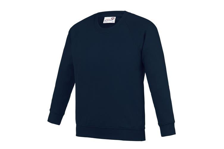 AWDis Academy Childrens/Kids Crew Neck Raglan School Sweatshirt (Navy) (3-4 Years)