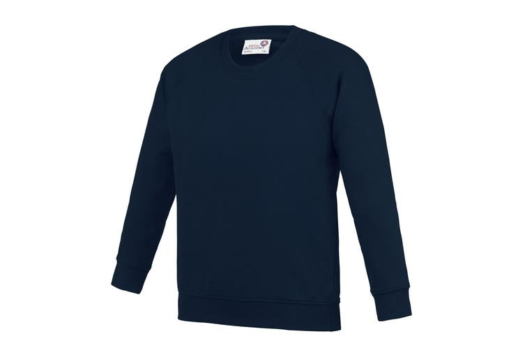 AWDis Academy Childrens/Kids Crew Neck Raglan School Sweatshirt (Navy) (5-6 Years)