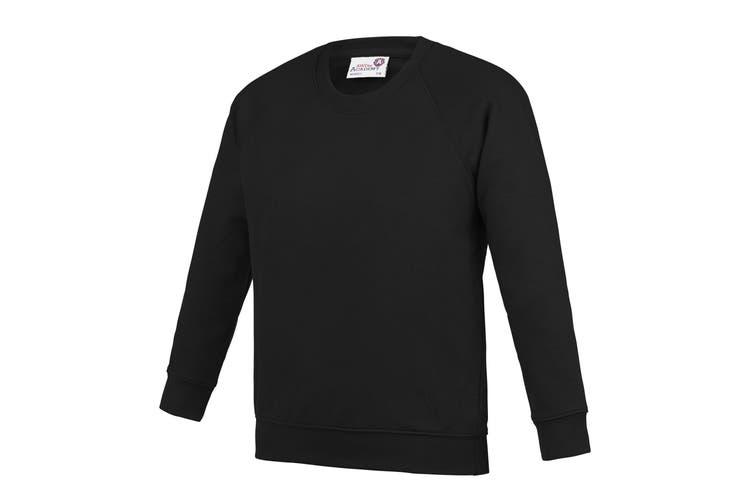 AWDis Academy Childrens/Kids Crew Neck Raglan School Sweatshirt (Black) (11-12 Years)