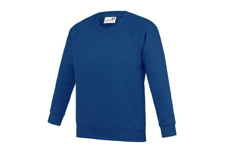 AWDis Academy Childrens/Kids Crew Neck Raglan School Sweatshirt (Deep Royal) (13 Years)