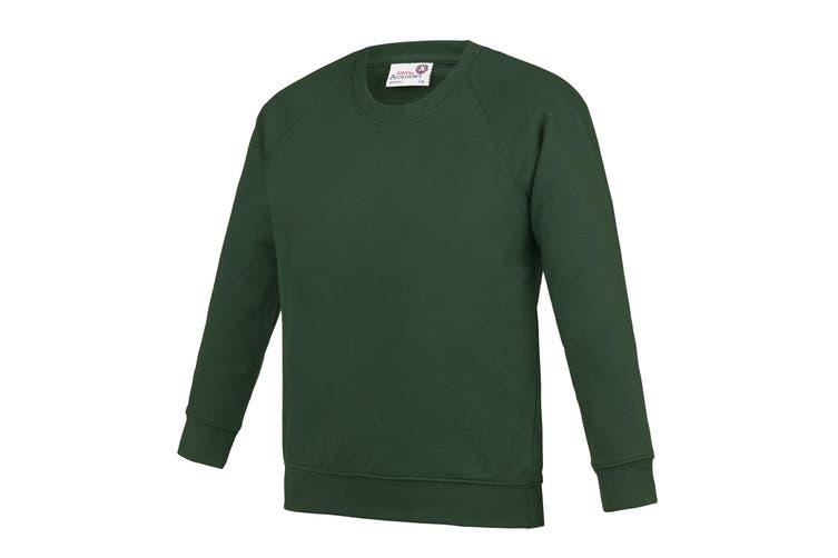 AWDis Academy Childrens/Kids Crew Neck Raglan School Sweatshirt (Emerald) (11-12 Years)